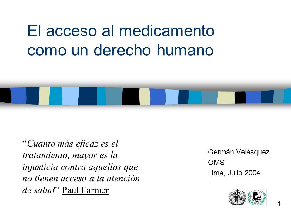 El acceso al medicamento como un derecho humano