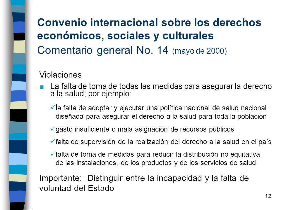 Convenio internacional sobre los derechos económicos, sociales y culturales Comentario general No. 14 (mayo de 2000)