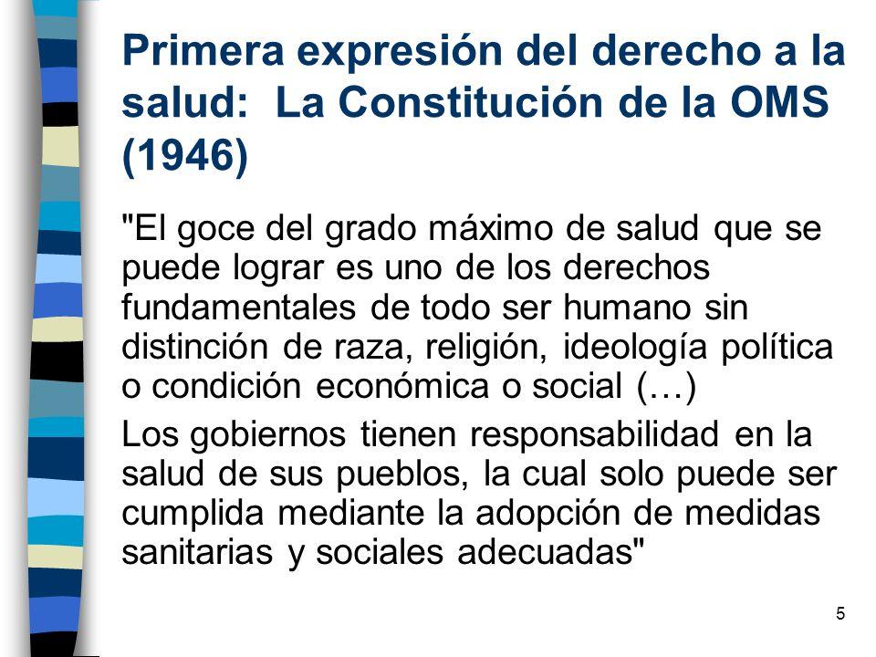 Primera expresión del derecho a la salud: La Constitución de la OMS (1946)
