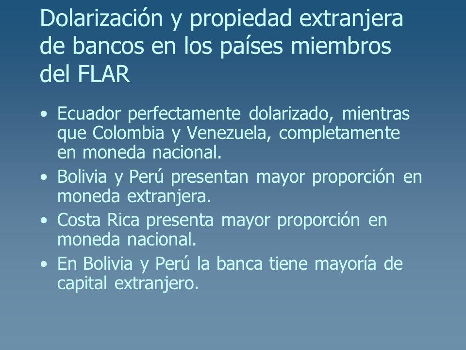 Dolarización y propiedad extranjera de bancos en los países miembros del FLAR