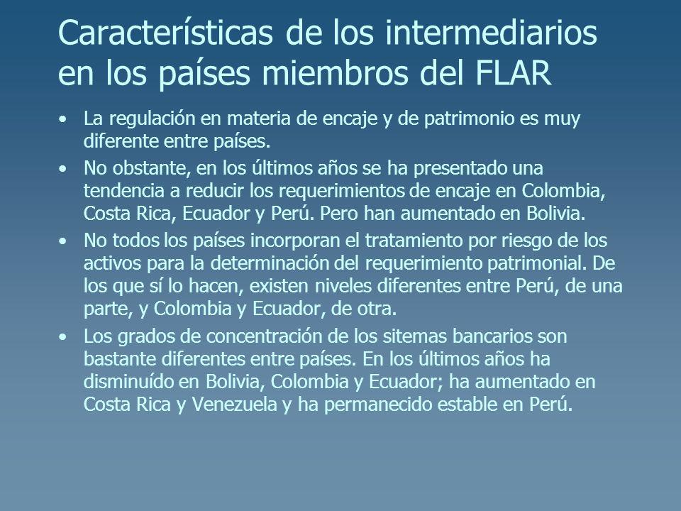 Características de los intermediarios en los países miembros del FLAR