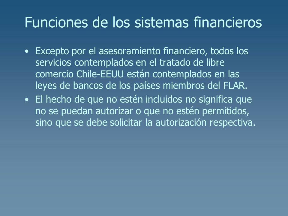 Funciones de los sistemas financieros