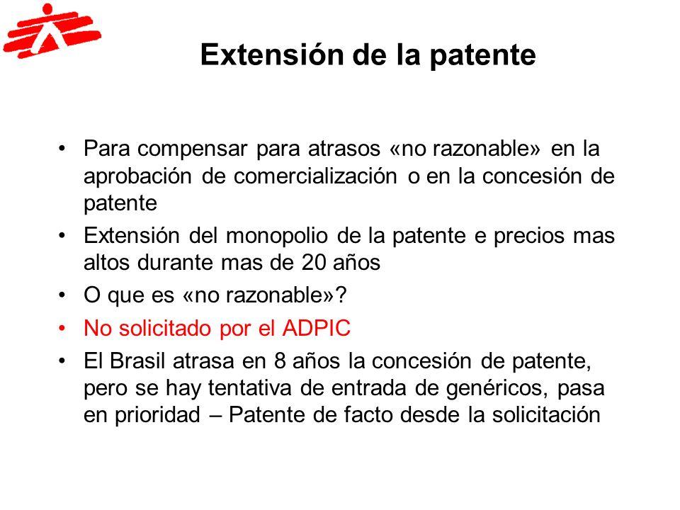 Extensión de la patente