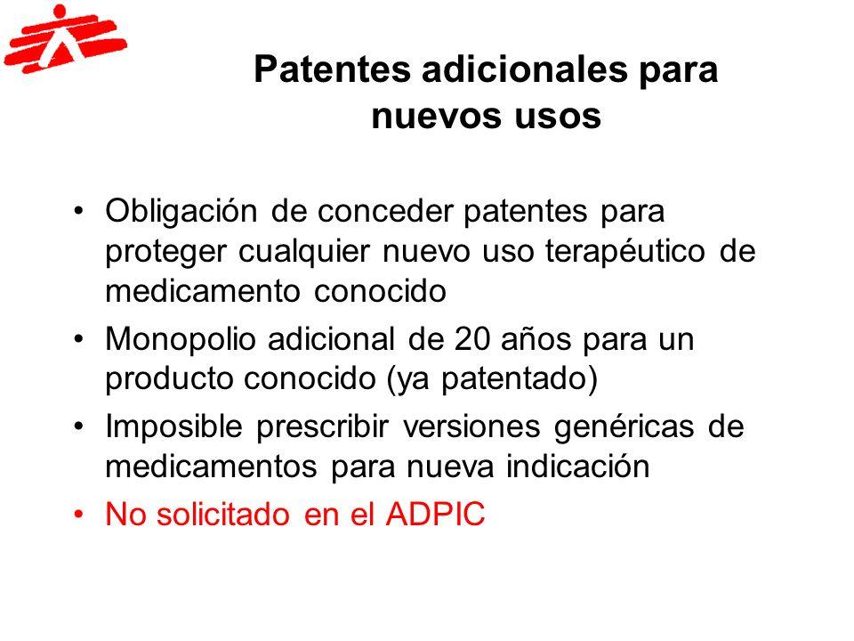Patentes adicionales para nuevos usos