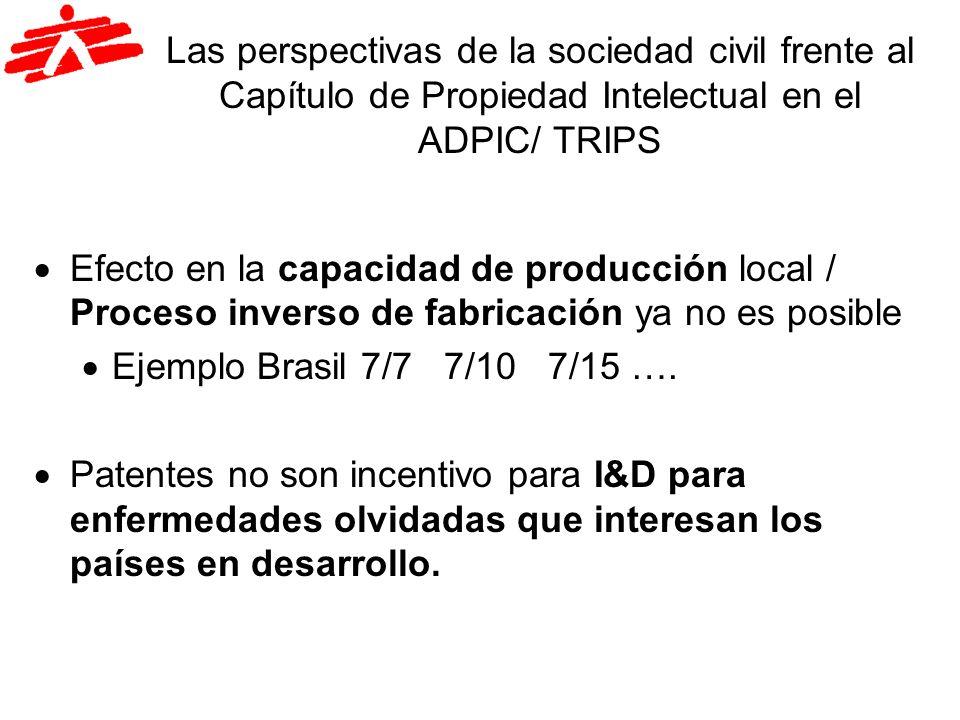 Las perspectivas de la sociedad civil frente al Capítulo de Propiedad Intelectual en el ADPIC/ TRIPS
