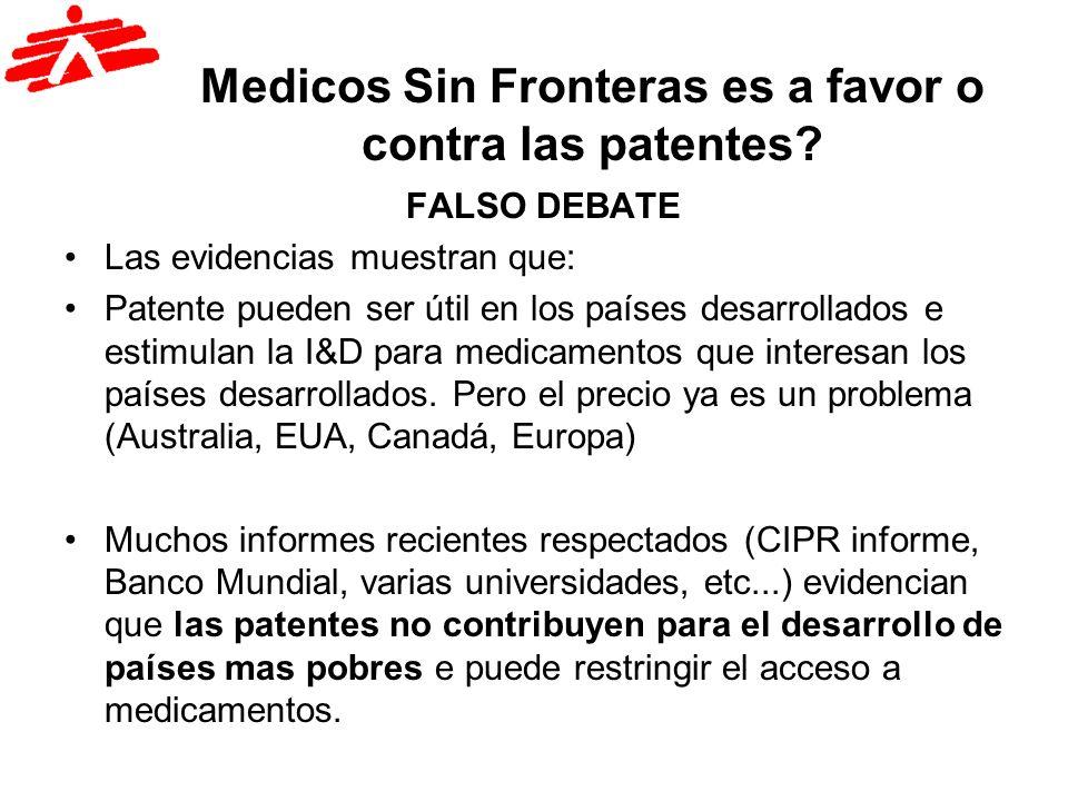 Medicos Sin Fronteras es a favor o contra las patentes