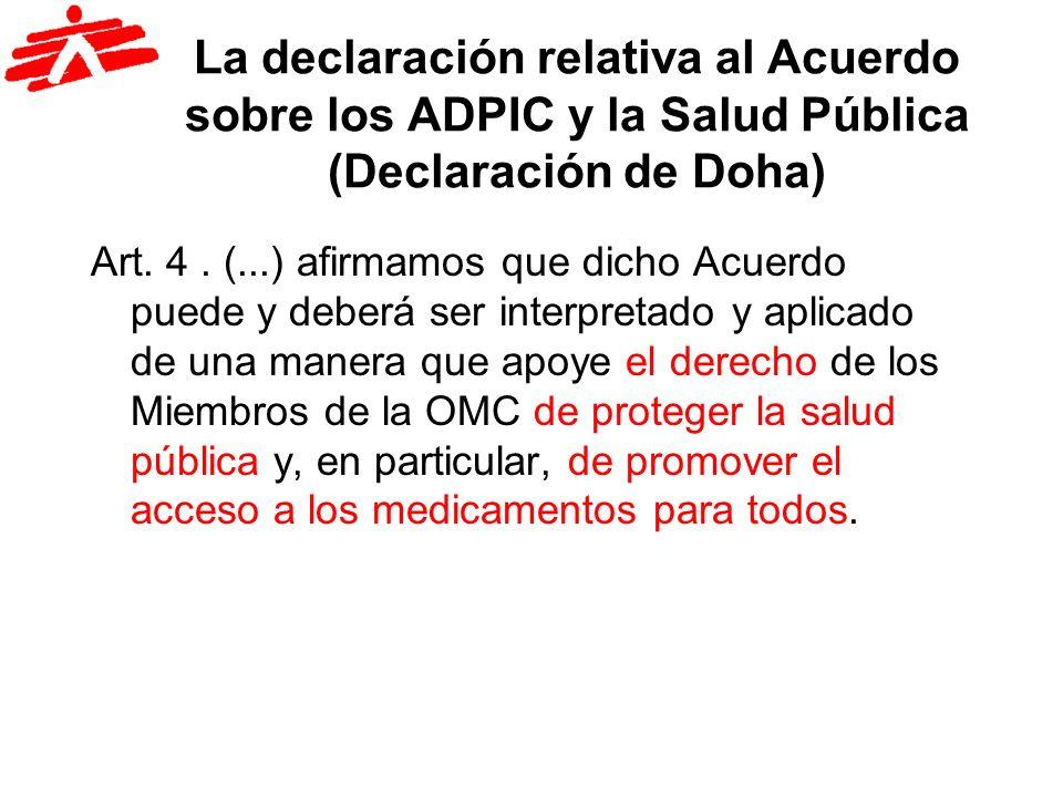 La declaración relativa al Acuerdo sobre los ADPIC y la Salud Pública (Declaración de Doha)