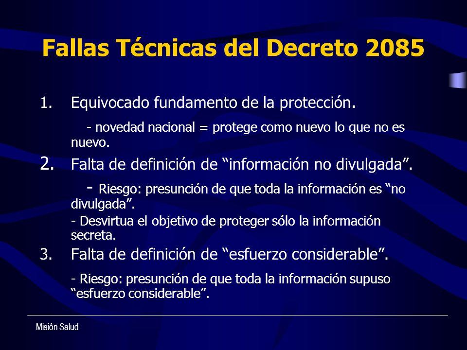 Fallas Técnicas del Decreto 2085