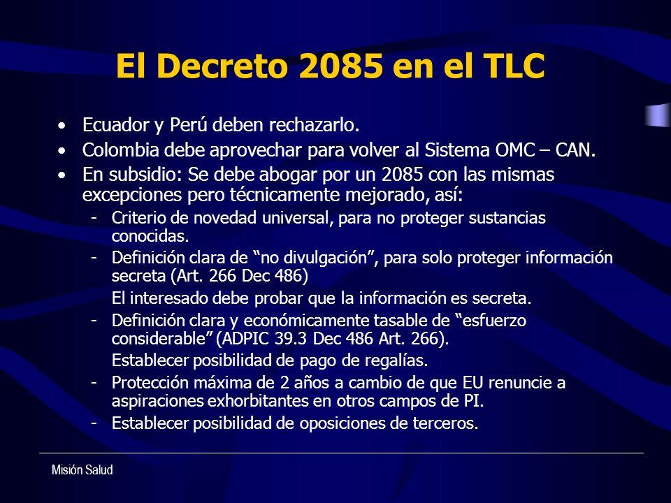 El Decreto 2085 en el TLC Ecuador y Perú deben rechazarlo.