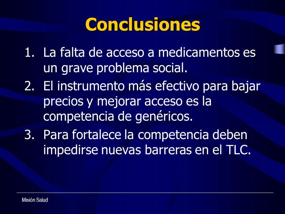 Conclusiones La falta de acceso a medicamentos es un grave problema social.