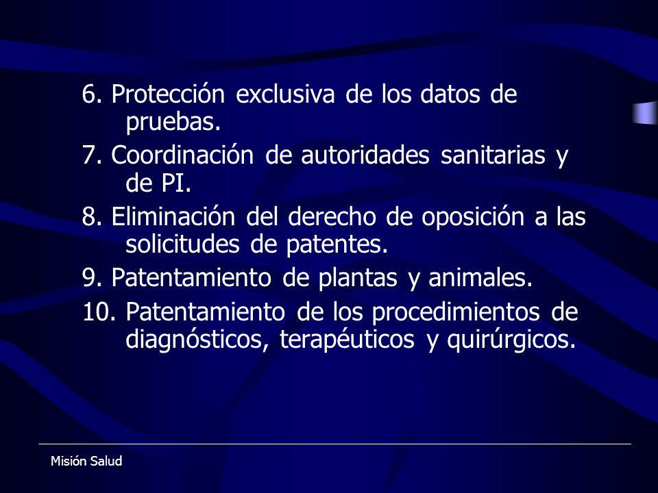 6. Protección exclusiva de los datos de pruebas.