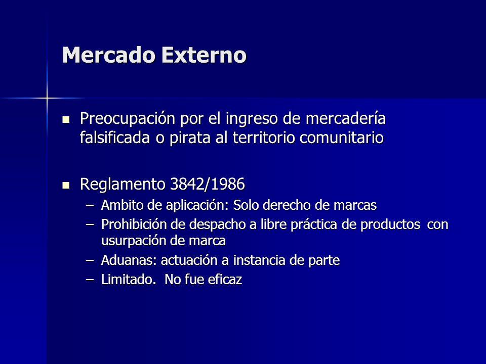 Mercado Externo Preocupación por el ingreso de mercadería falsificada o pirata al territorio comunitario.