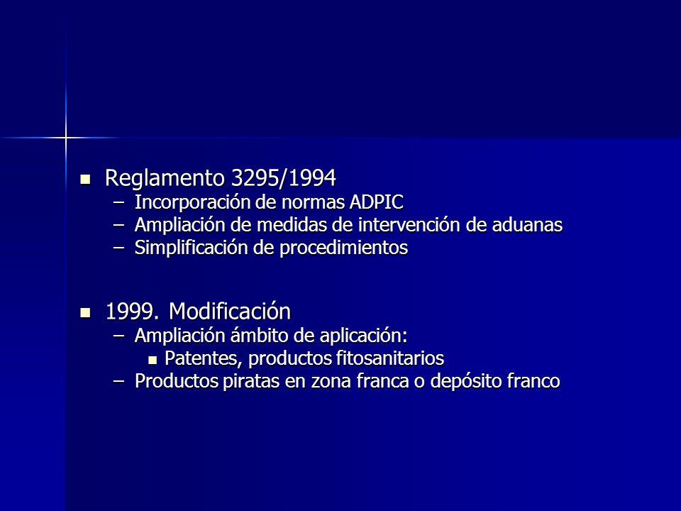 Reglamento 3295/1994 1999. Modificación Incorporación de normas ADPIC