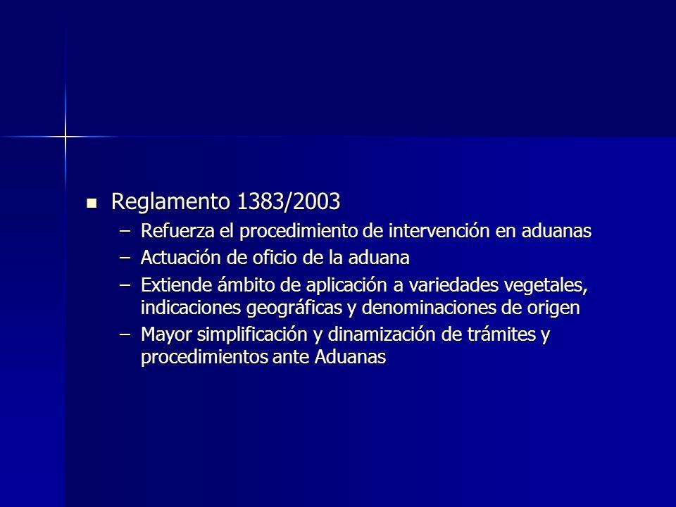 Reglamento 1383/2003 Refuerza el procedimiento de intervención en aduanas. Actuación de oficio de la aduana.