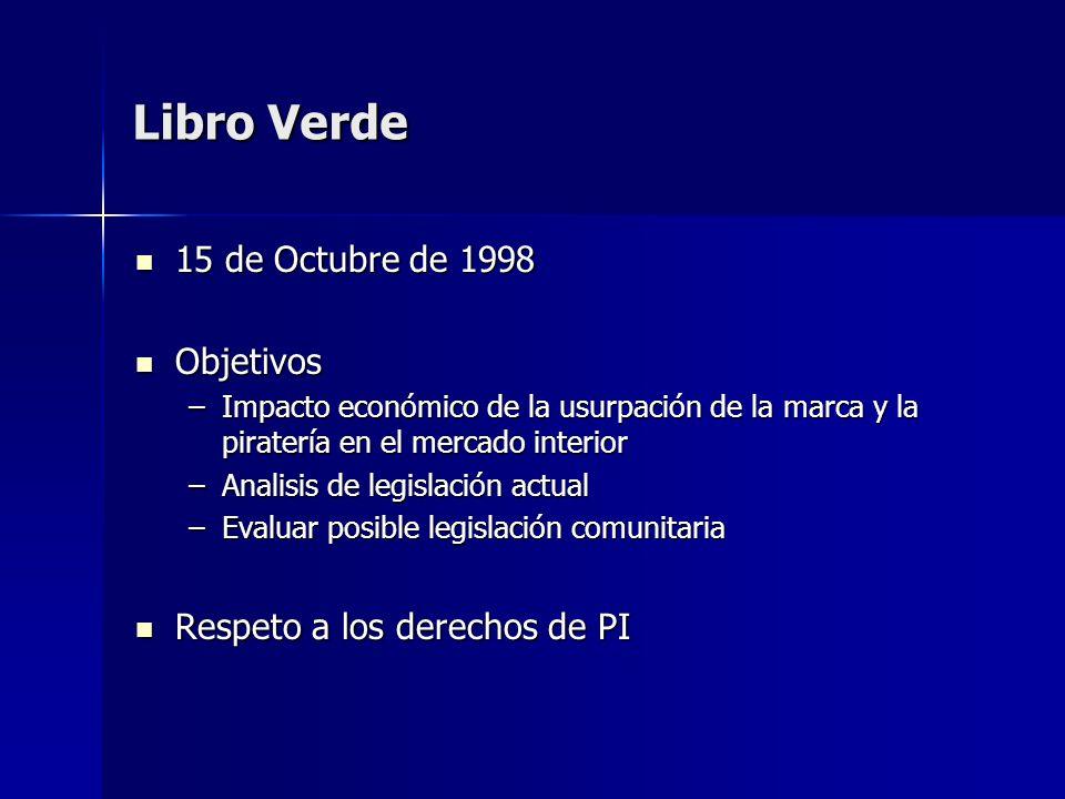 Libro Verde 15 de Octubre de 1998 Objetivos