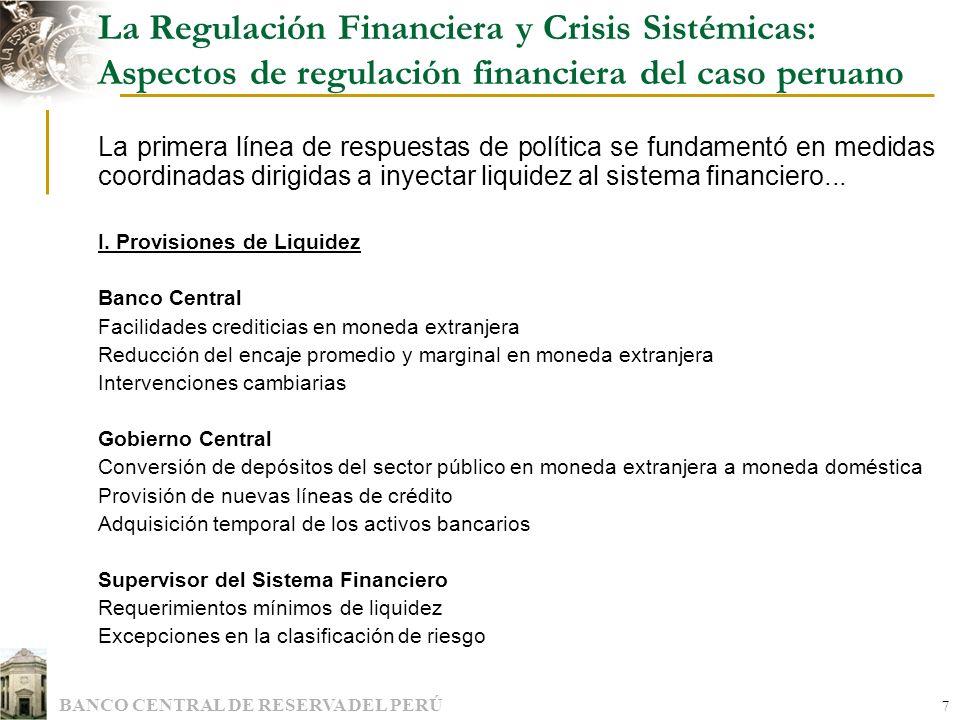 La Regulación Financiera y Crisis Sistémicas: Aspectos de regulación financiera del caso peruano