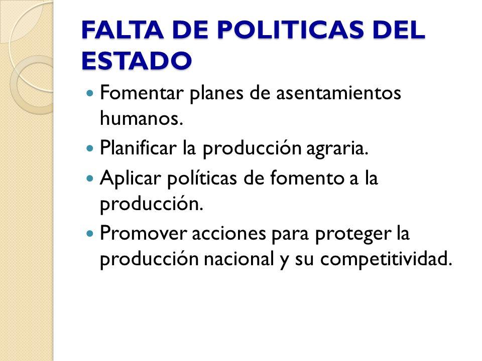 FALTA DE POLITICAS DEL ESTADO