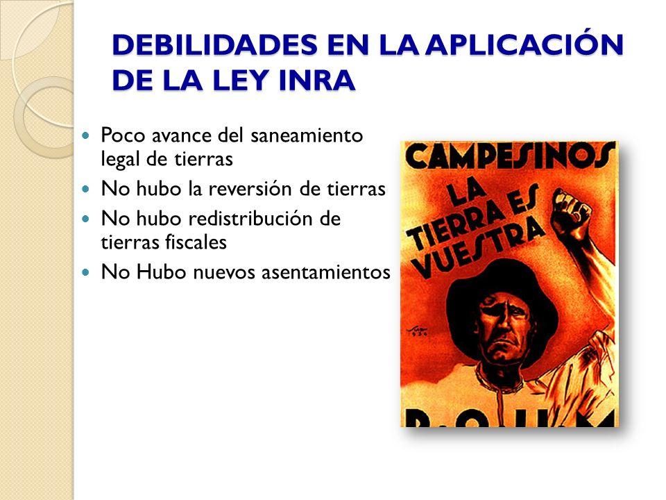 DEBILIDADES EN LA APLICACIÓN DE LA LEY INRA