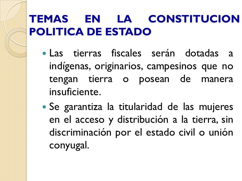 TEMAS EN LA CONSTITUCION POLITICA DE ESTADO