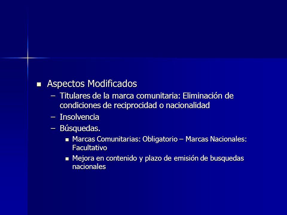 Aspectos Modificados Titulares de la marca comunitaria: Eliminación de condiciones de reciprocidad o nacionalidad.