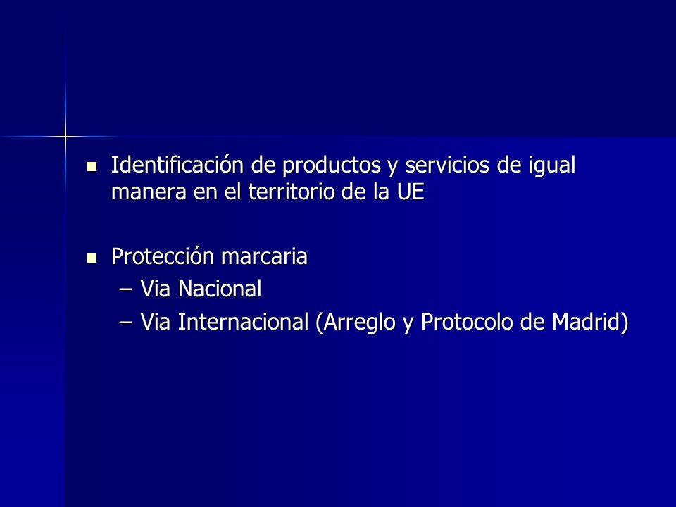 Identificación de productos y servicios de igual manera en el territorio de la UE