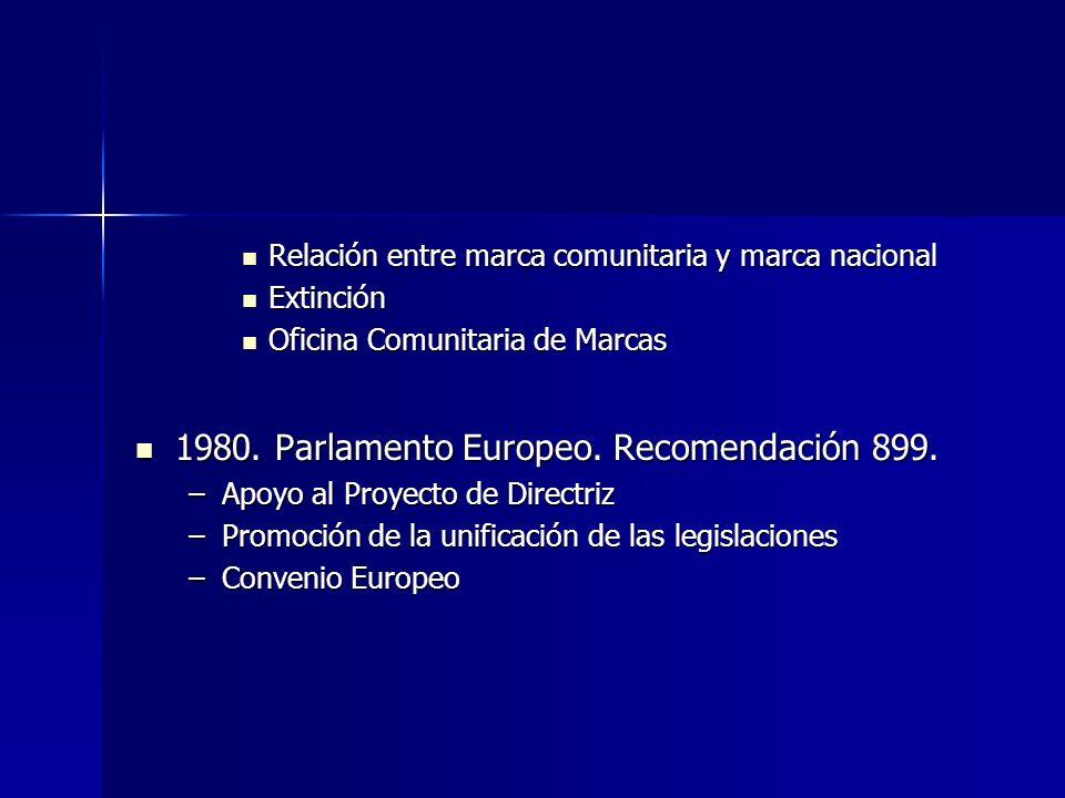1980. Parlamento Europeo. Recomendación 899.