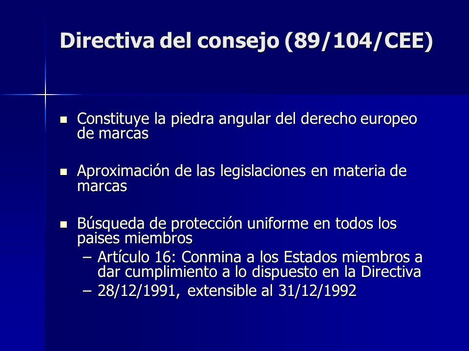 Directiva del consejo (89/104/CEE)