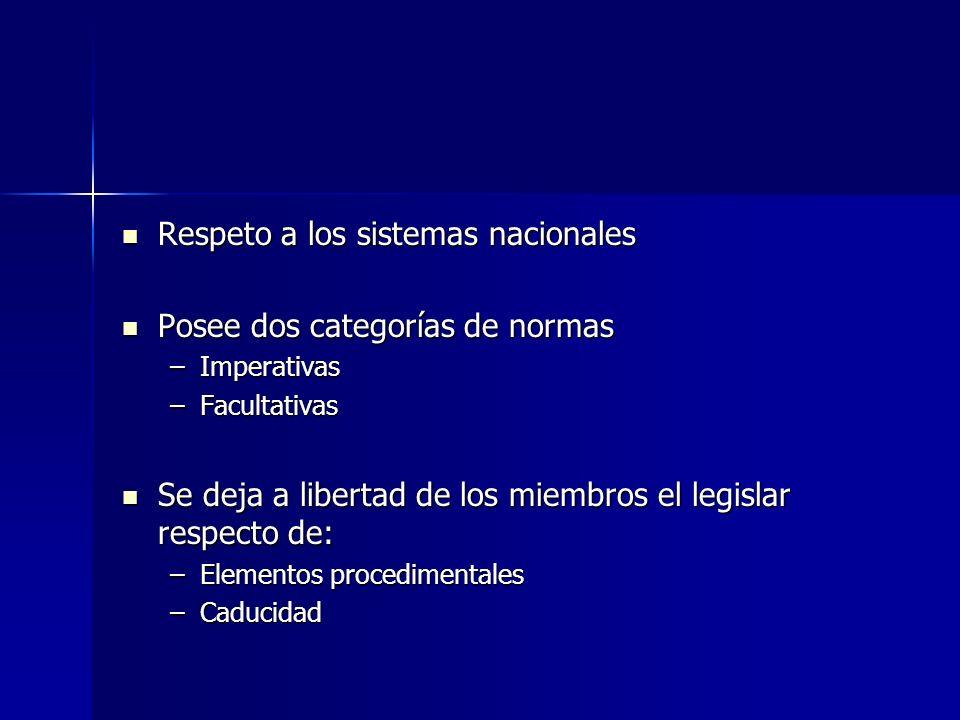 Respeto a los sistemas nacionales Posee dos categorías de normas