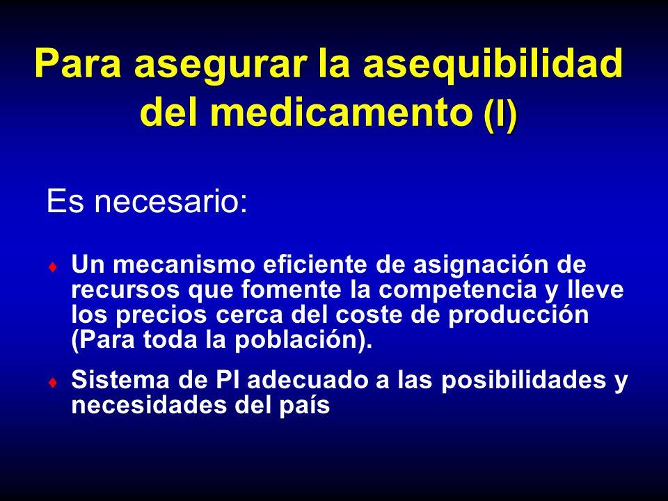 Para asegurar la asequibilidad del medicamento (I)