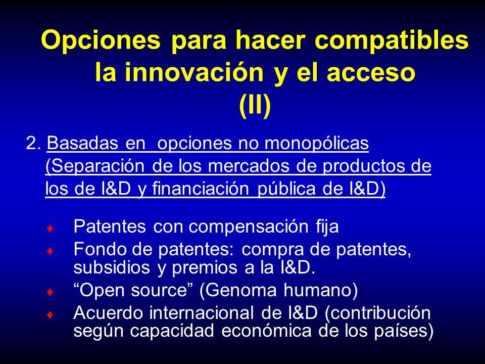 Opciones para hacer compatibles la innovación y el acceso (II)