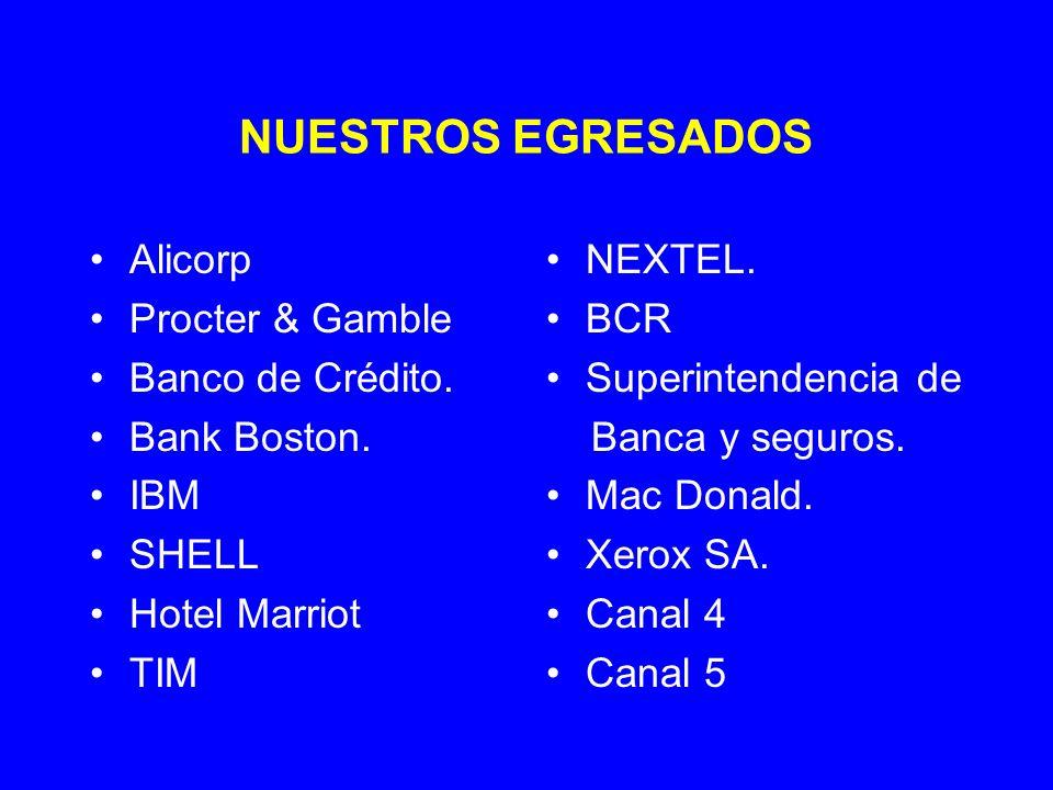 NUESTROS EGRESADOS Alicorp Procter & Gamble Banco de Crédito.