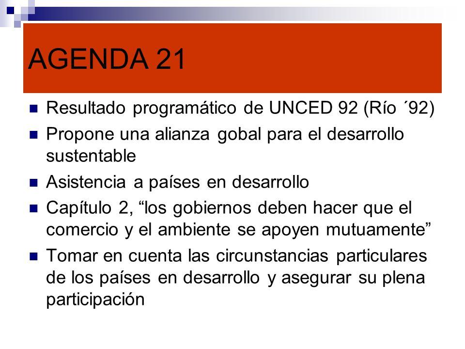 AGENDA 21 Resultado programático de UNCED 92 (Río ´92)