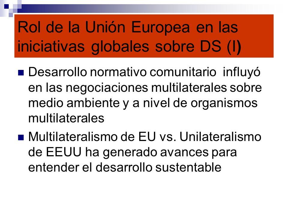 Rol de la Unión Europea en las iniciativas globales sobre DS (I)