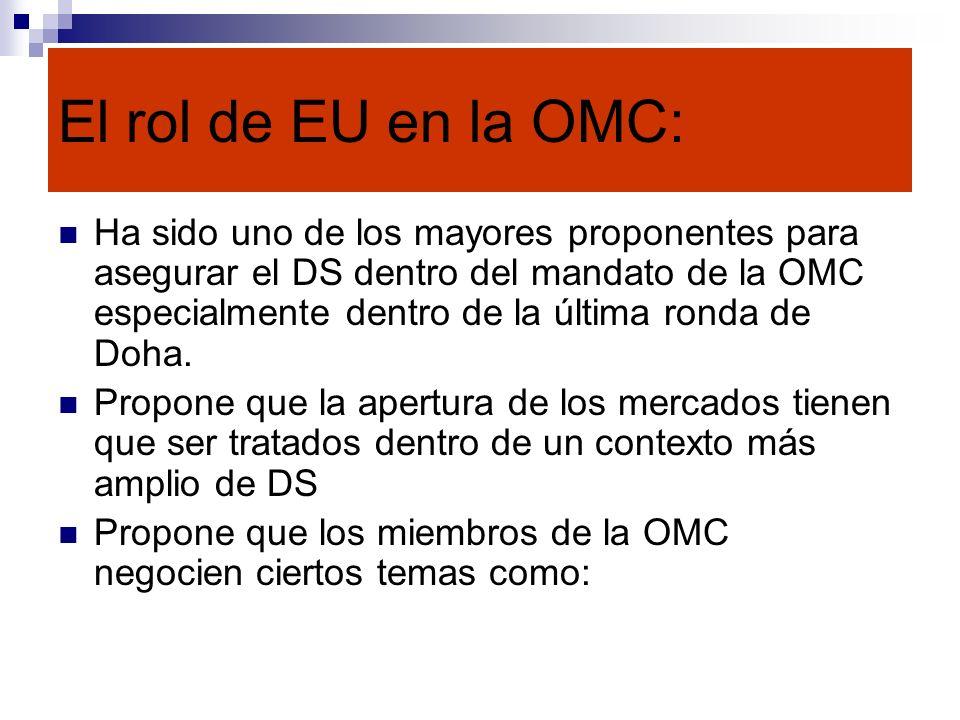 El rol de EU en la OMC:
