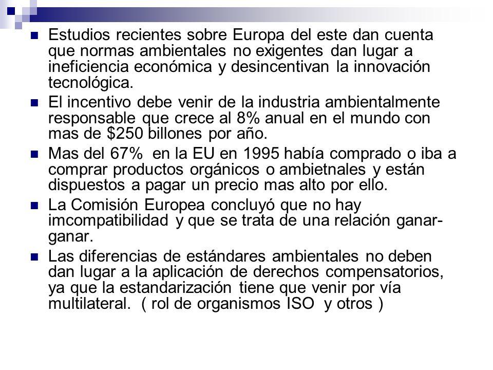 Estudios recientes sobre Europa del este dan cuenta que normas ambientales no exigentes dan lugar a ineficiencia económica y desincentivan la innovación tecnológica.