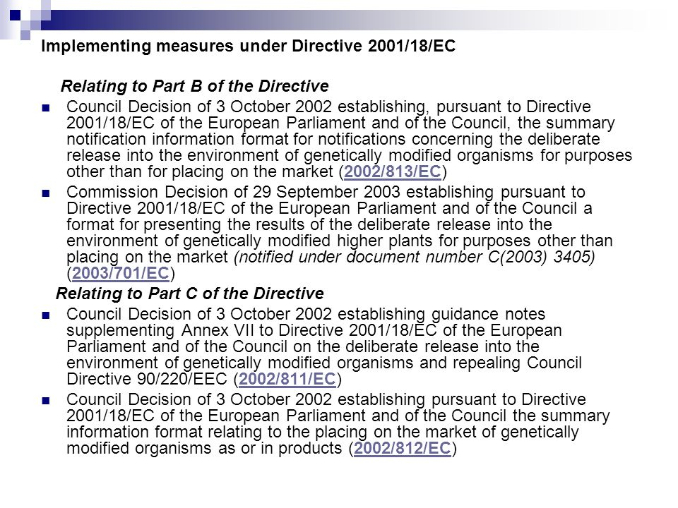 Implementing measures under Directive 2001/18/EC
