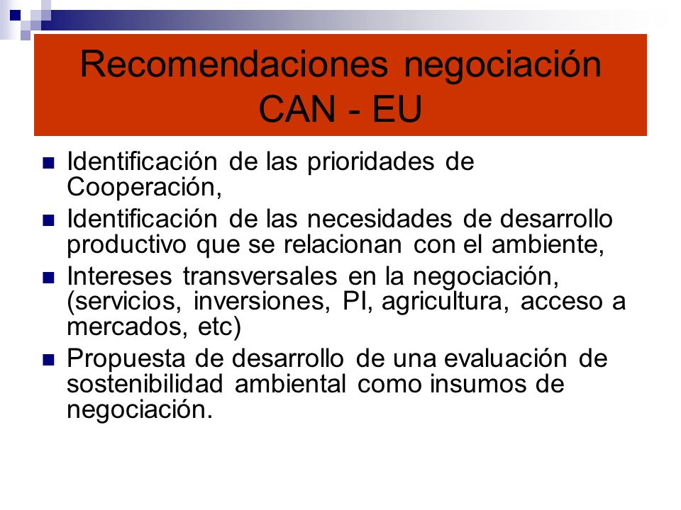 Recomendaciones negociación CAN - EU