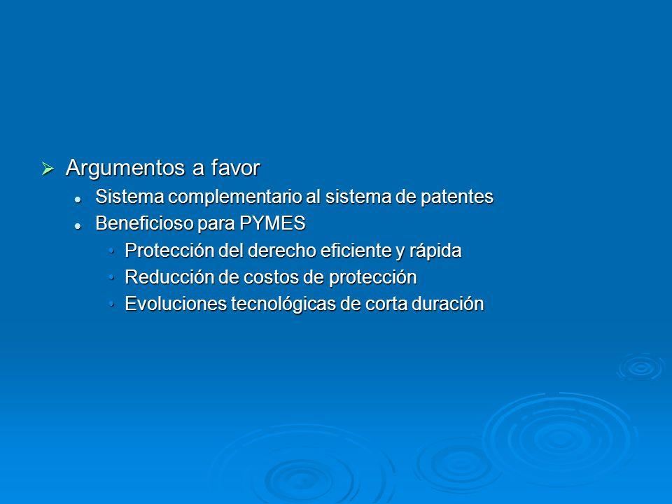 Argumentos a favor Sistema complementario al sistema de patentes