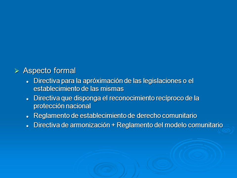 Aspecto formal Directiva para la apróximación de las legislaciones o el establecimiento de las mismas.