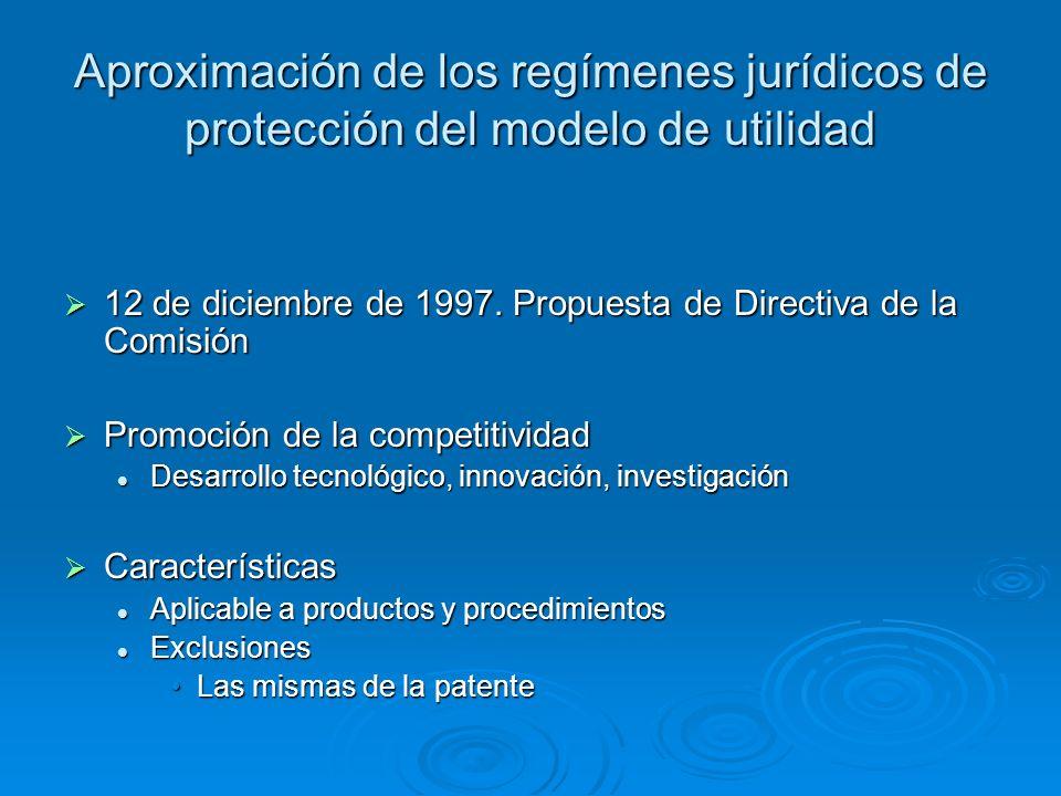 Aproximación de los regímenes jurídicos de protección del modelo de utilidad