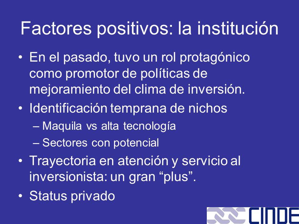 Factores positivos: la institución
