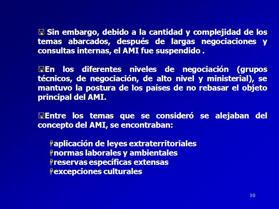 Sin embargo, debido a la cantidad y complejidad de los temas abarcados, después de largas negociaciones y consultas internas, el AMI fue suspendido .