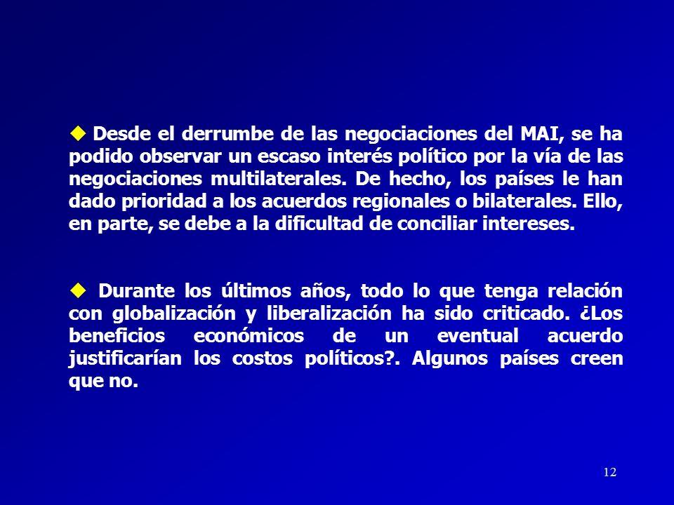 Desde el derrumbe de las negociaciones del MAI, se ha podido observar un escaso interés político por la vía de las negociaciones multilaterales. De hecho, los países le han dado prioridad a los acuerdos regionales o bilaterales. Ello, en parte, se debe a la dificultad de conciliar intereses.