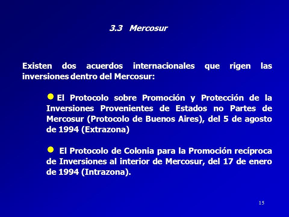 3.3 Mercosur Existen dos acuerdos internacionales que rigen las inversiones dentro del Mercosur: