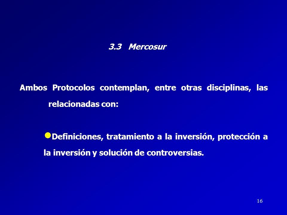 3.3 Mercosur Ambos Protocolos contemplan, entre otras disciplinas, las relacionadas con: