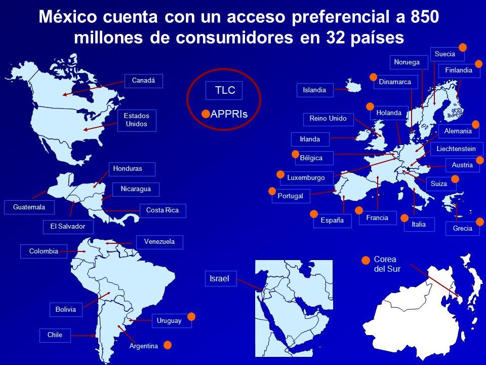 México cuenta con un acceso preferencial a 850 millones de consumidores en 32 países
