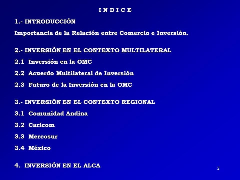 I N D I C E 1.- INTRODUCCIÓN Importancia de la Relación entre Comercio e Inversión.