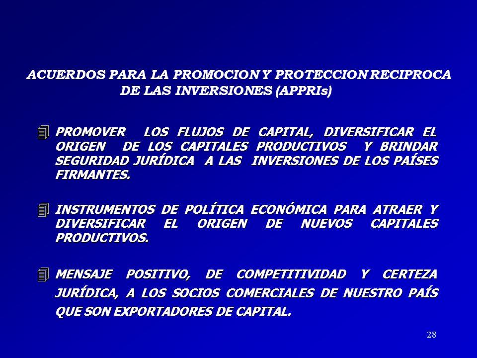 PROMOVER LOS FLUJOS DE CAPITAL, DIVERSIFICAR EL ORIGEN DE LOS CAPITALES PRODUCTIVOS Y BRINDAR SEGURIDAD JURÍDICA A LAS INVERSIONES DE LOS PAÍSES FIRMANTES.
