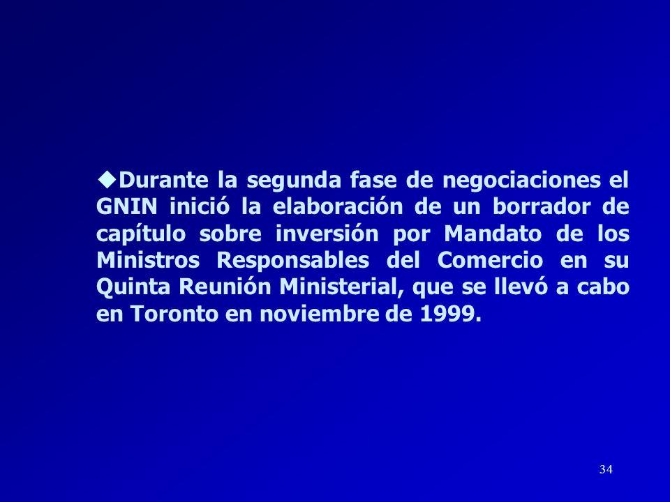 Durante la segunda fase de negociaciones el GNIN inició la elaboración de un borrador de capítulo sobre inversión por Mandato de los Ministros Responsables del Comercio en su Quinta Reunión Ministerial, que se llevó a cabo en Toronto en noviembre de 1999.