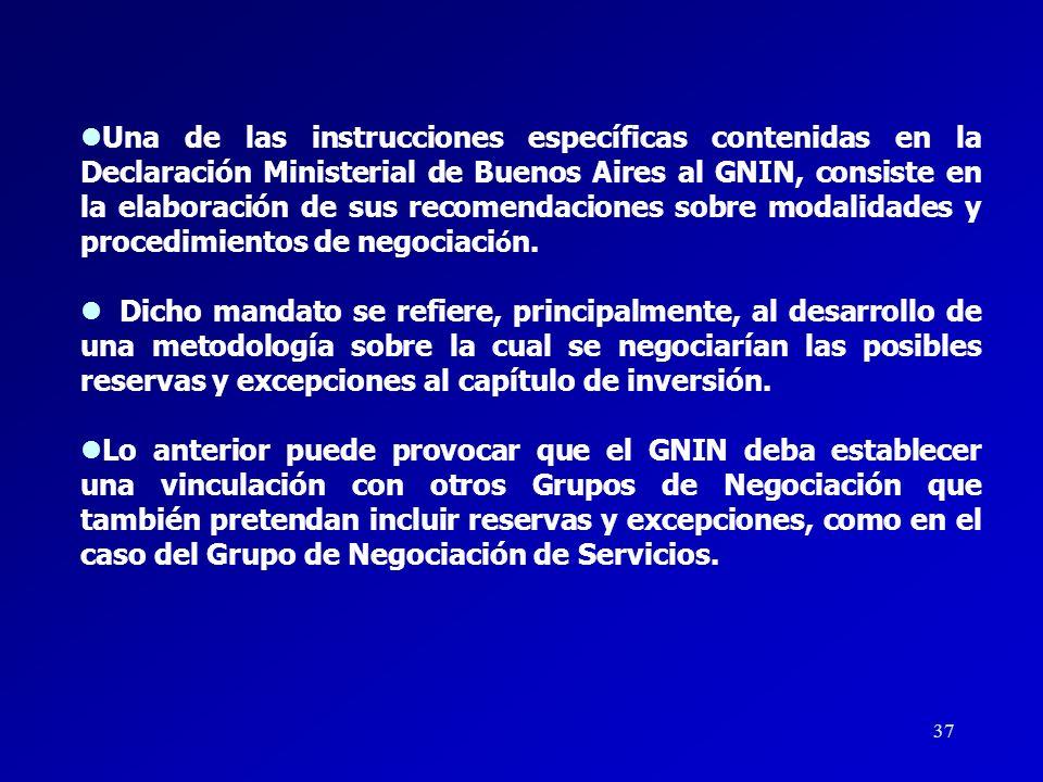 Una de las instrucciones específicas contenidas en la Declaración Ministerial de Buenos Aires al GNIN, consiste en la elaboración de sus recomendaciones sobre modalidades y procedimientos de negociación.